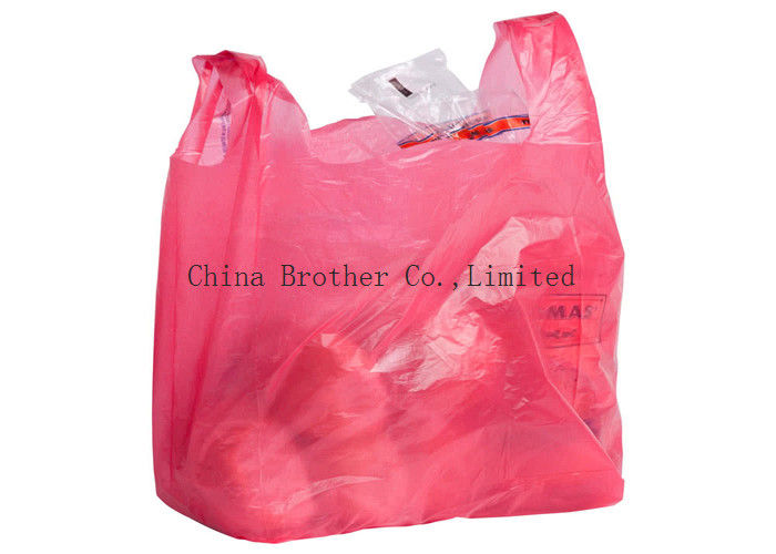 Colorful HDPE Handle T Shirt Plastic Bags , Grocery Store Plastic Bags  Vest Carrier