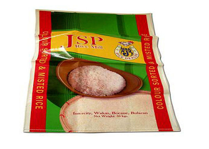 Moisture Proof Rice Sack Bag Bopp Laminated With Large Capacity Environmental Friendly